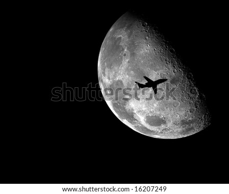 Buisness Jet in front of the moon
