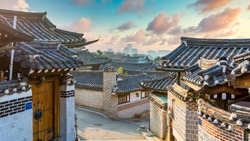 Bukchon Hanok Village in Seoul City, Traditional Korean style ancient architecture building, Seoul, South Korea.