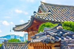 Bukchon Hanok Village is a traditional Korean building. In Seoul, South Korea