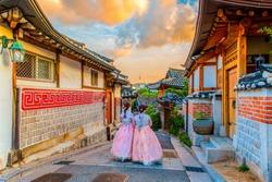 bukchon hanok village the atmosphere before the sunset at Bukchon hanok village,South Korea