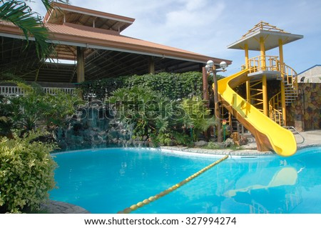 BULACAN, PH - OCT. 16: Cherubin Gardens swimming pool on October 16, 2015 in Meycauayan, Bulacan. Cherubin Gardens is a resort and events place consists of guest rooms, swimming pool, and others.