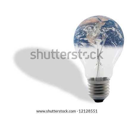 bulb and earth with shadow isolated on white background with clipping path around the bulb energy and environmental concepts (image of earth is  from NASA library)