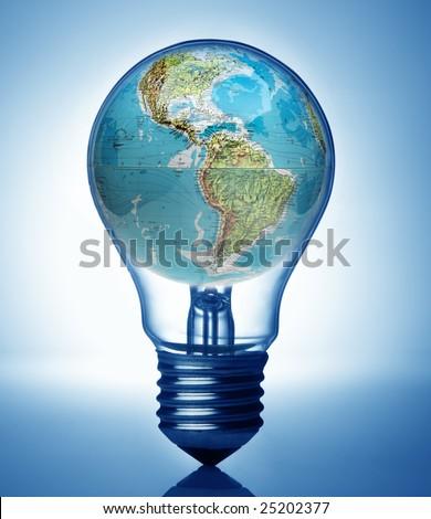 Bulb and overuse global energy concept
