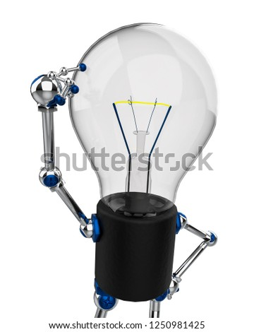 bulb character in a white background. This bulb will put some fun in yours creations, 3d illustration