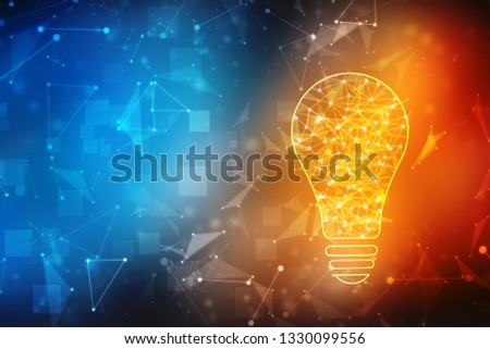Bulb future technology, innovation background, creative idea concept, Artificial Intelligence background