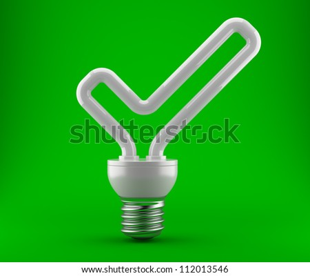 Bulb in the form of a ok check mark on a dark green background. 3d an illustration