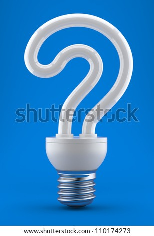 Bulb in the form of a question mark on a dark blue background. 3d an illustration - stock photo