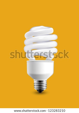 bulb isolated on orange background