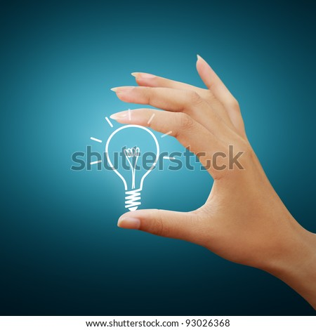 Bulb light drawing idea in woman hand