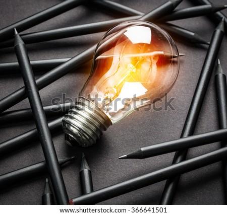 Bulb Light Idea Pencils Paper  #366641501