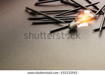 Bulb Light Idea Pencils Paper - Stock Image #410132965
