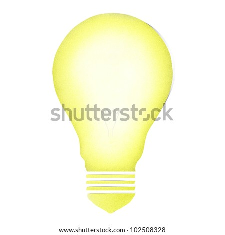 Bulb light lantern craft by cork board on white isolate (clipping path) - stock photo