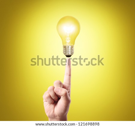 bulb light on women fingertip ,hand