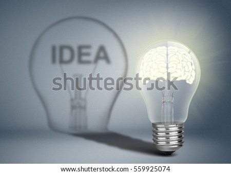 Bulb with brain and shadow, thinking concept #559925074