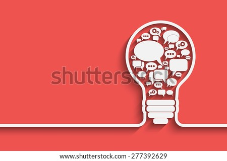 bulb with bubble speech, an idea concept,  illustration for your design