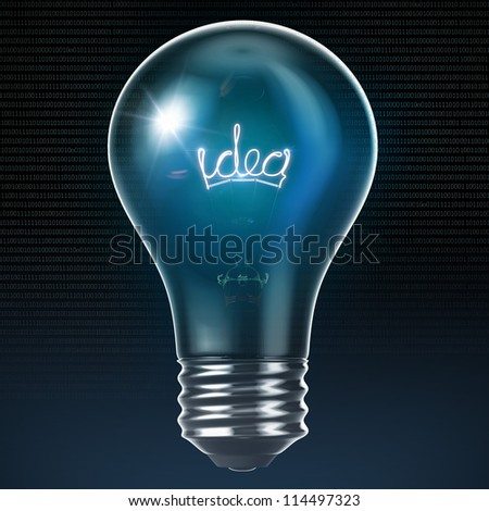 Bulb with glowing Idea inside 3D