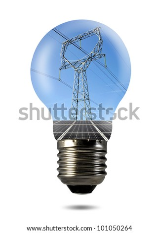 Bulb with of solar panel and power line