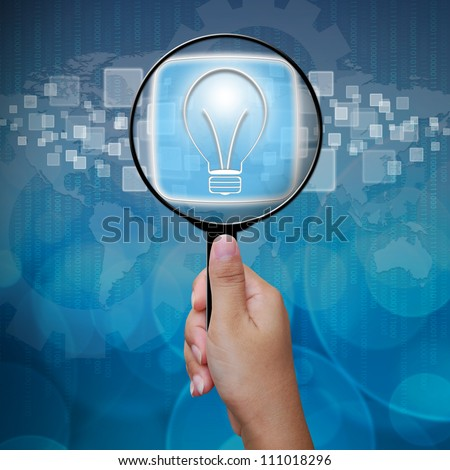 Bulbs button in Magnifying glass
