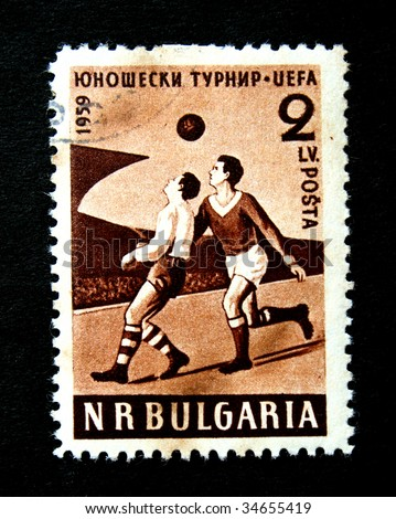 BULGARIA - CIRCA 1959. A stamp printed in Bulgaria to commemorate the UEFA football championship.