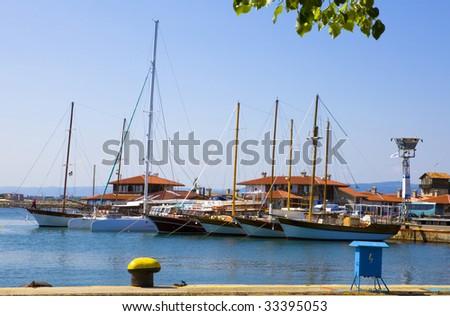 Bulgaria, city Nesebr, Ships at quay