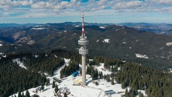 Bulgaria Pamporovo ski resort, winter, view of the Snezhanka TV tower, view from a drone