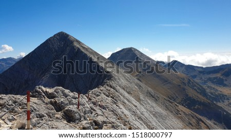 Bulgaria, Pirin Mountains, Kutelo 2 Peak and Vihren Peak.
