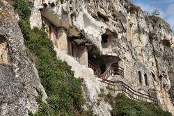 Bulgaria rock cave church and monastery in Ivanovo. UNESCO listed landmark.