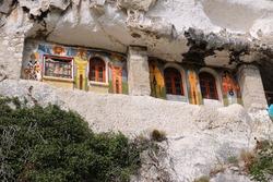 Bulgaria rock cave church and monastery in Ivanovo. UNESCO listed landmark in the Balkans.