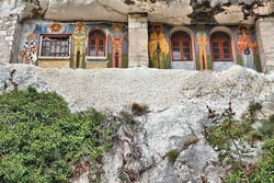 Bulgaria - rock-hewn churches of Ivanovo. Famous UNESCO World Heritage Site.