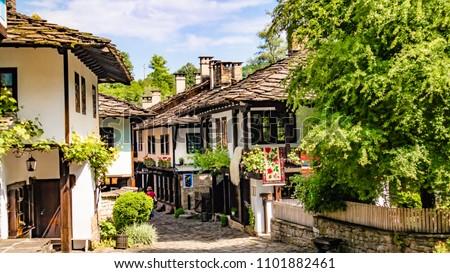 Bulgaria shopping street in Etar village in Gabrovo province
