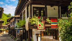 Bulgaria shopping street in Etar village in Gabrovo province. Translation: