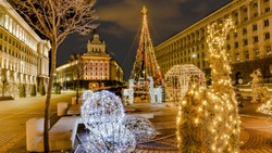 Bulgaria Sofia  Beautiful night view in downtown Sofia Ministerial Council, the National Assembly and the presidency with Christmas decorations