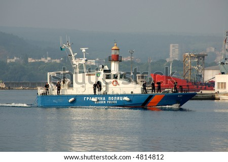 Bulgarian border police ship is entering the Port of Varna
