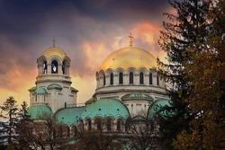 Bulgarian capital Sofia HDR scenic sunset over old Aleksander Nevski orthodox church