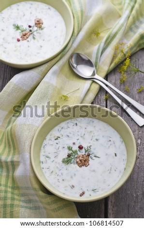 Bulgarian cold soup, Tarator on the table