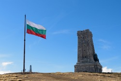 Bulgarian flag and Shipka monument of liberty
