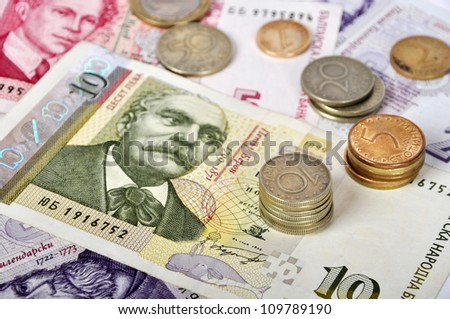 Bulgarian money close up.Ten levs and some coins. Shallow dof. Focus on coins