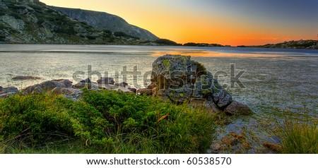 bulgarian mountain lake in dusk time