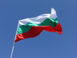 Bulgarian National Flag isolated on Sky Background