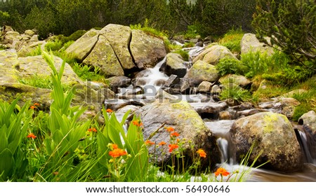 bulgarian nature background; mountain river