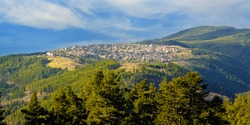 bulgarian nature panorama with old village
