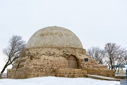 Bulgarian settlement. Limestone Northern Mausoleum on a cloudy spring day in Bolgar, Tatarstan, Russia.