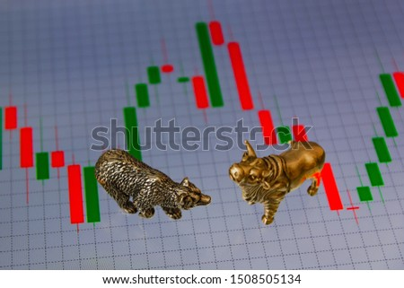 Bull and bear as symbols of stock trading on a blurred background of price graphics. The concept of symbolism of commodity and financial world markets. #1508505134
