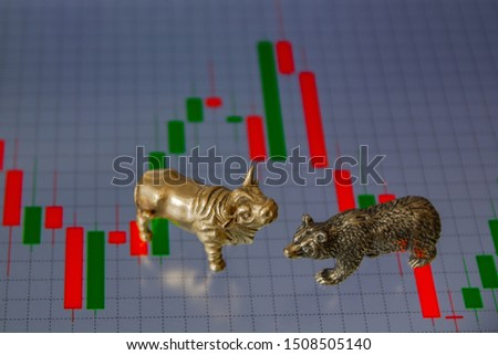 Bull and bear as symbols of stock trading on a blurred background of price graphics. The concept of symbolism of commodity and financial world markets. #1508505140