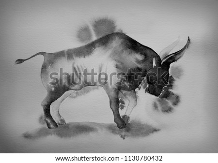 Bull, Buffalo. Bullfighting. Chinese, Japanese painting, watercolor painting, ink. Symbol of the year, zodiac sign. Wild animals of Africa, savannas. Bulls against bears, a symbol of struggle, success