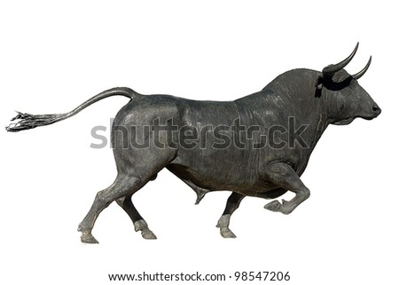 bull isolated on white background - stock photo