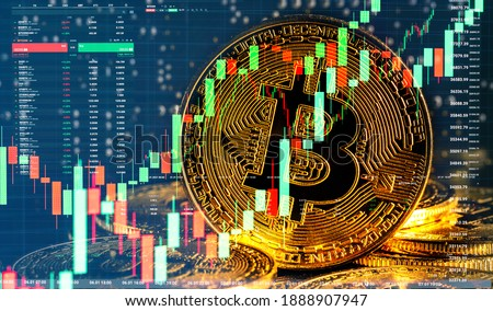 Bull market trend. Cryptocurrency. Bitcoin Stock Growth. Chart shows a strong increase in the price of bitcoin. Investing in virtual assets. Investment platform with charts and bitcoin coin. Foto stock ©