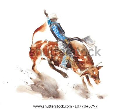 Bull rodeo watercolor painting illustration isolated on white background american sport lifestyle tradition wild west
