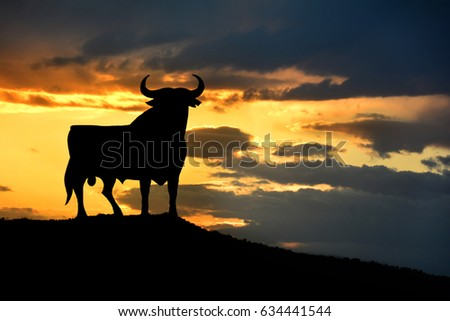 Bull sign in the roads of Spain. Symbol os spanish culture