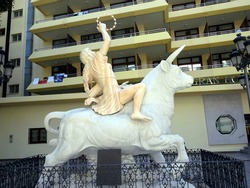 Bull symbol of Spain. A sculpture of a bull with a rider with